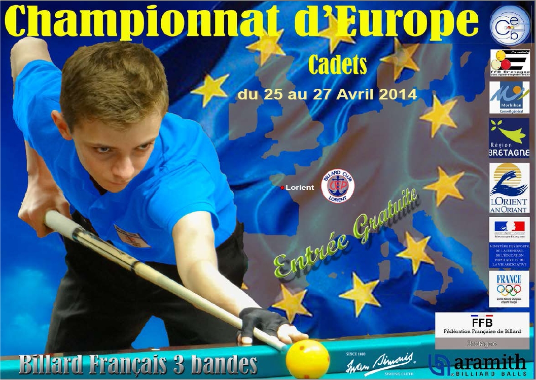 championnat d europe cadets 3 bandes lorient cep billard club cep lorient. Black Bedroom Furniture Sets. Home Design Ideas